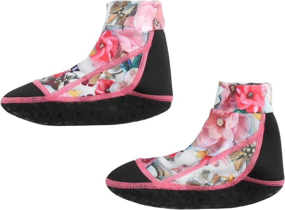 Zabi - Sequins Flowers - Floral neoprene aqua socks
