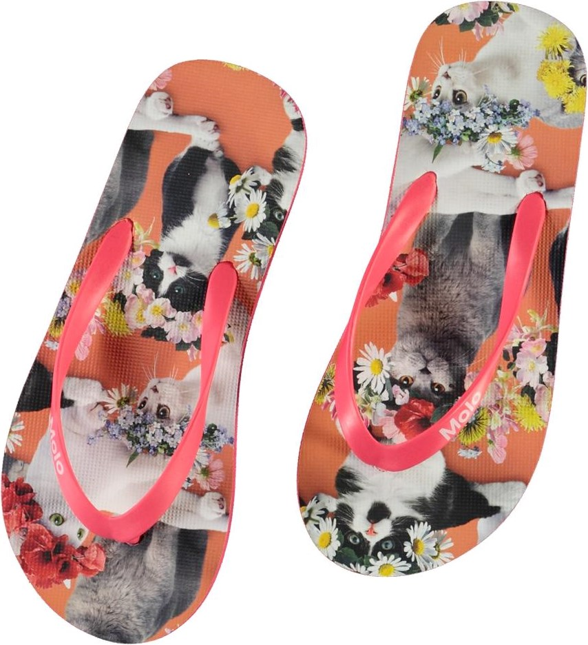 Zeppo - Flower Power Cats - Flip flops with cat print