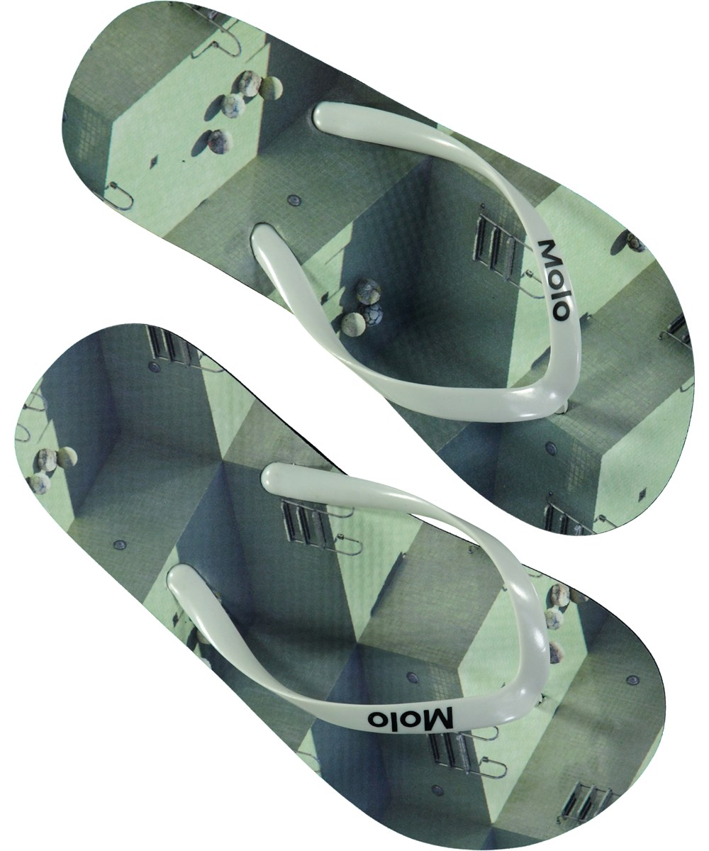 Zeppo - Graphic Pools - Beach sandals with digital swimming pool print