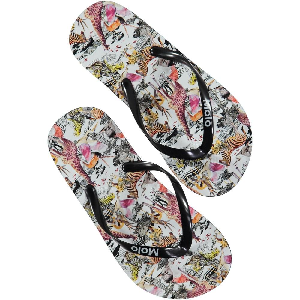 Zeppo - Safari - Beach sandals with digital safari print