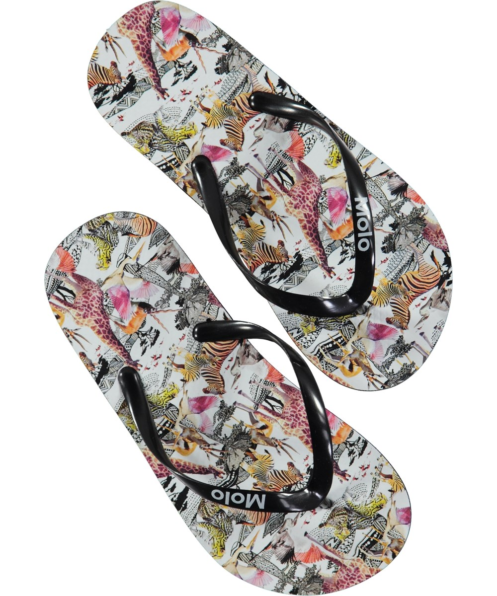 Zeppo - Safari - Beach sandals with digital safari print