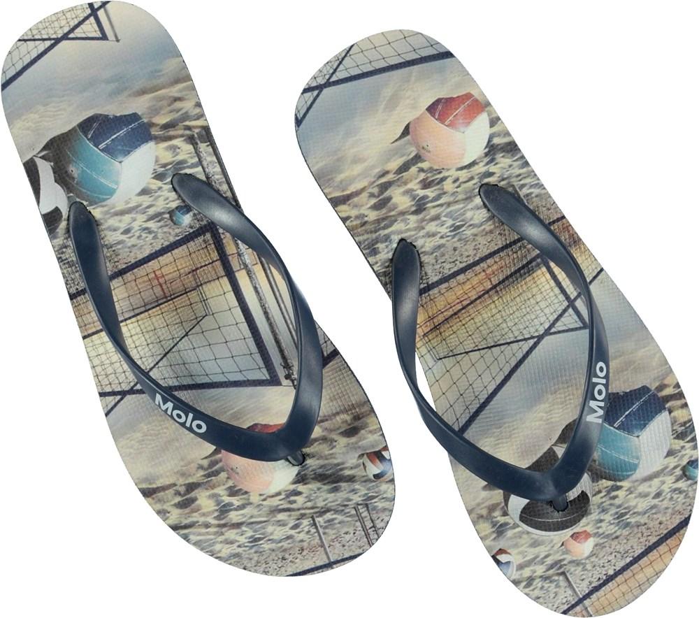 Zeppo - Volleyball Sunset - Printed flip flops.