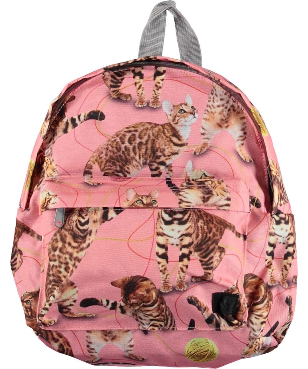 Backpack - Wannabe Leopard - Lyserød rygsæk med katte.