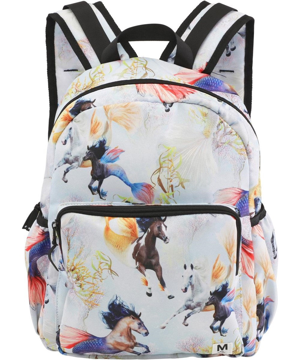 Big backpack - Horses Of The Sea - Recycled rygsæk med søheste print