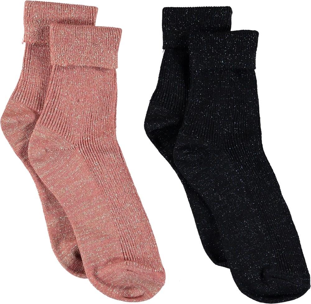 Chunky Rib - Rosewater - Glitter socks.