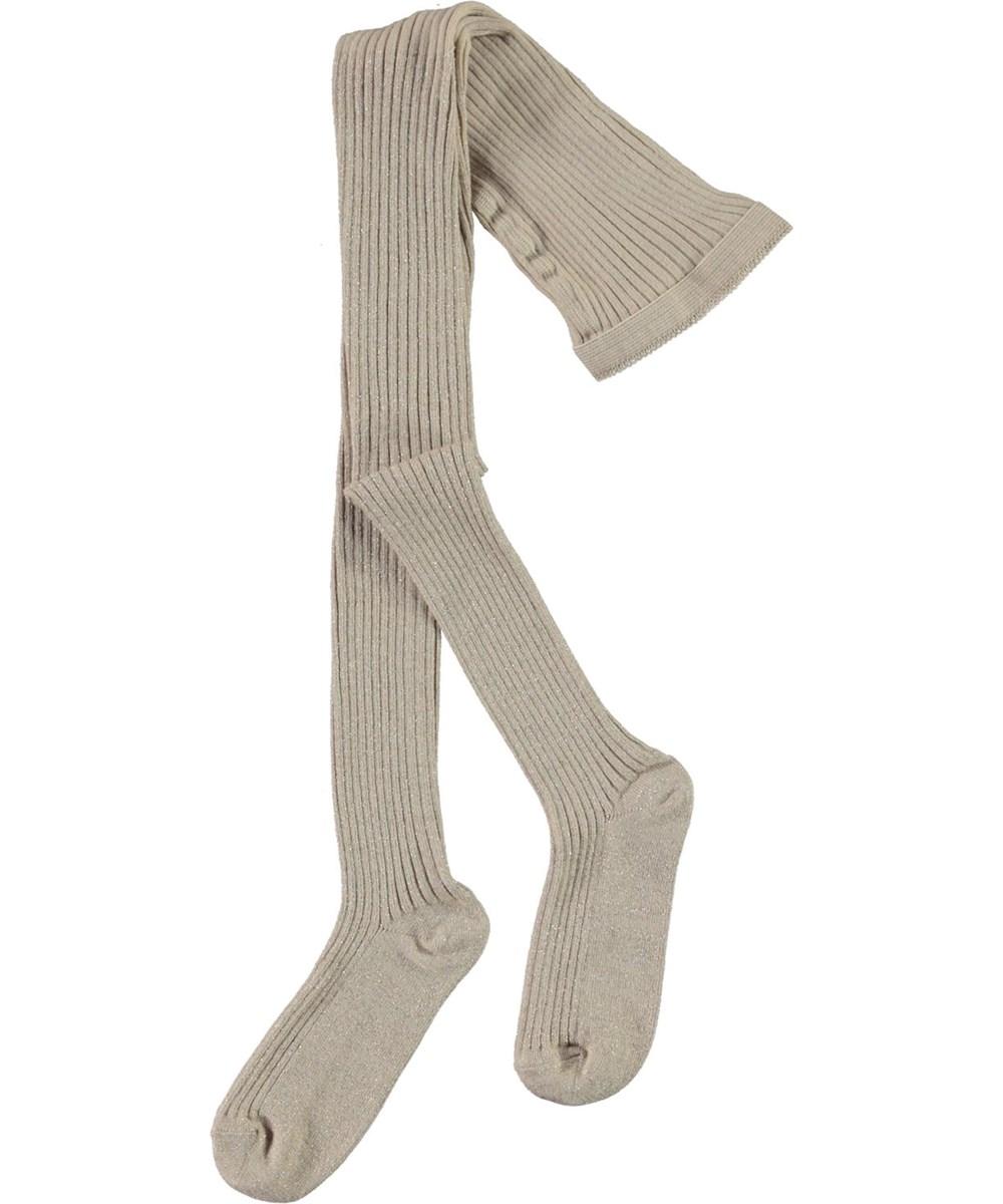 Glitter Rib Tights - Doeskin - White tights with glitter