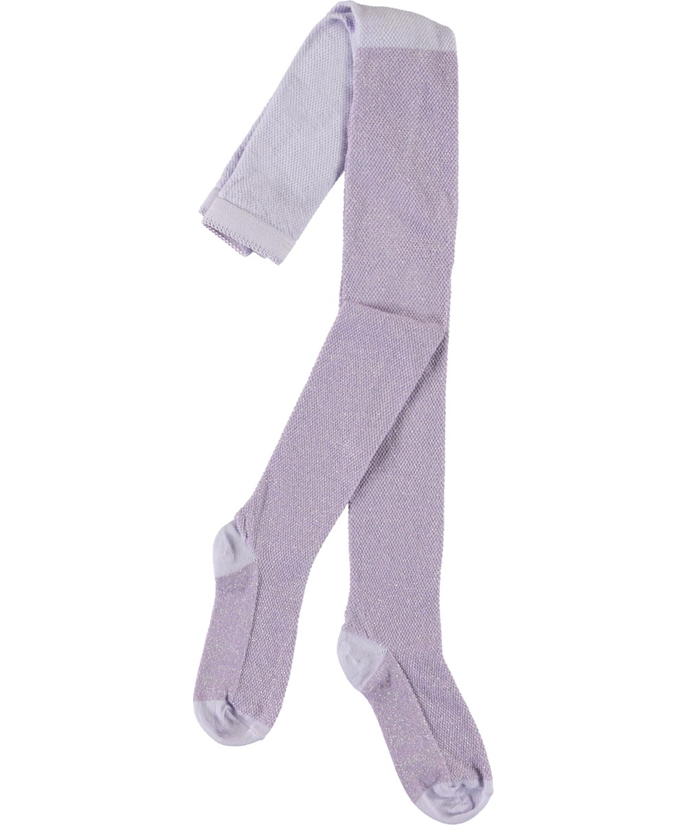 Glitter Structure Tights - Frozen Lilac - Lilac glitter tights