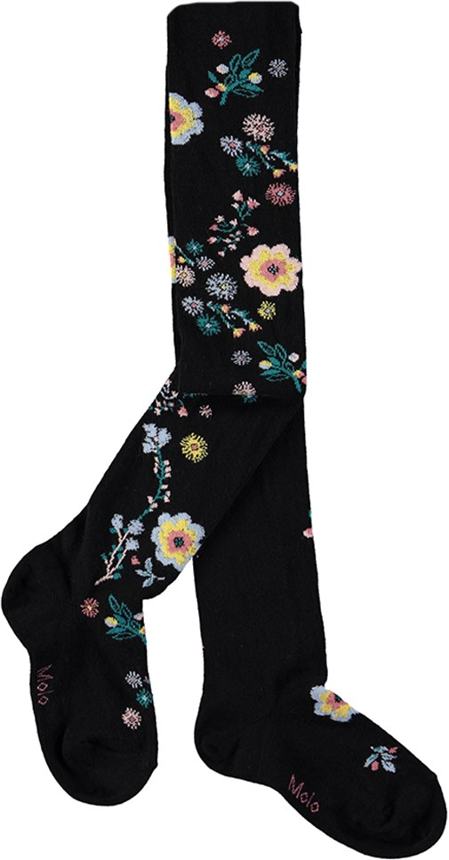 Jaquard Tights - Autumn Floral - Black tights with embroidered flowers