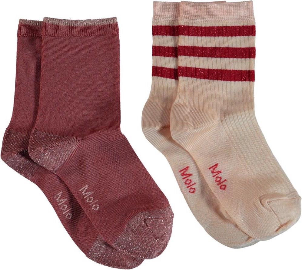 Nella - Pearled Ivory - Glitter socks with stripes.