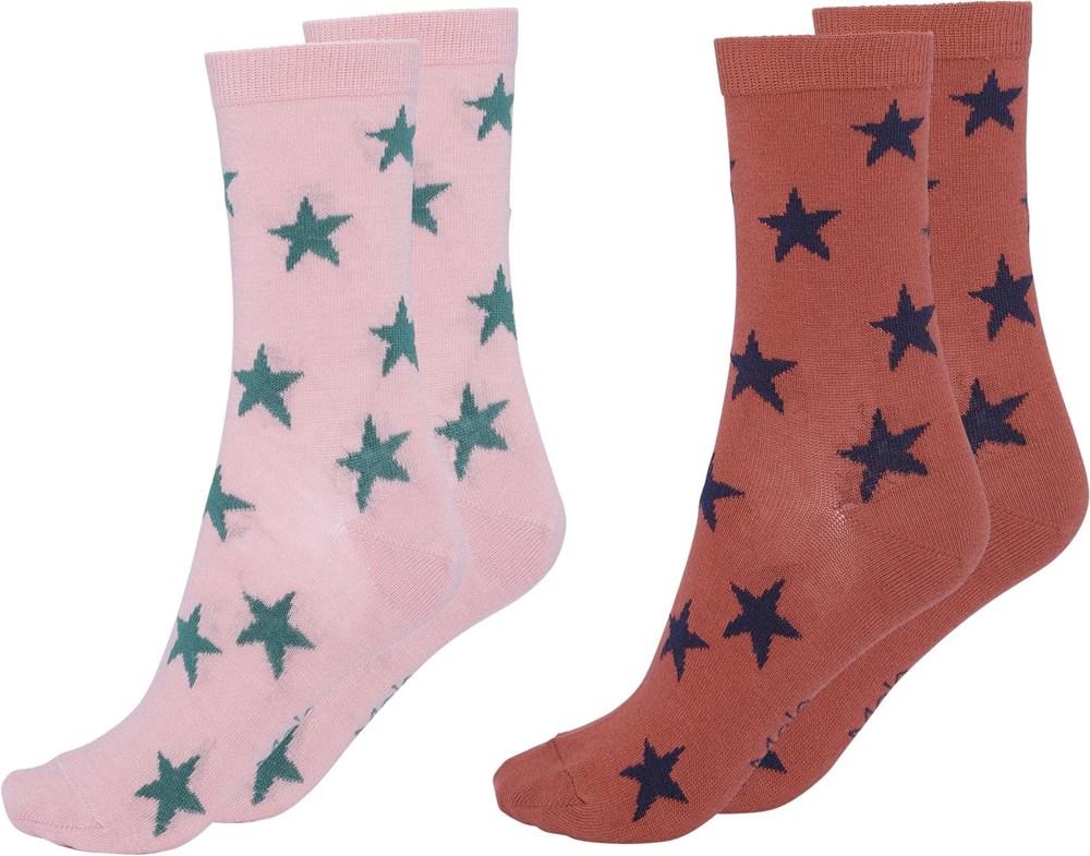 Nesi - Burnt Brick - Two pairs socks with stars