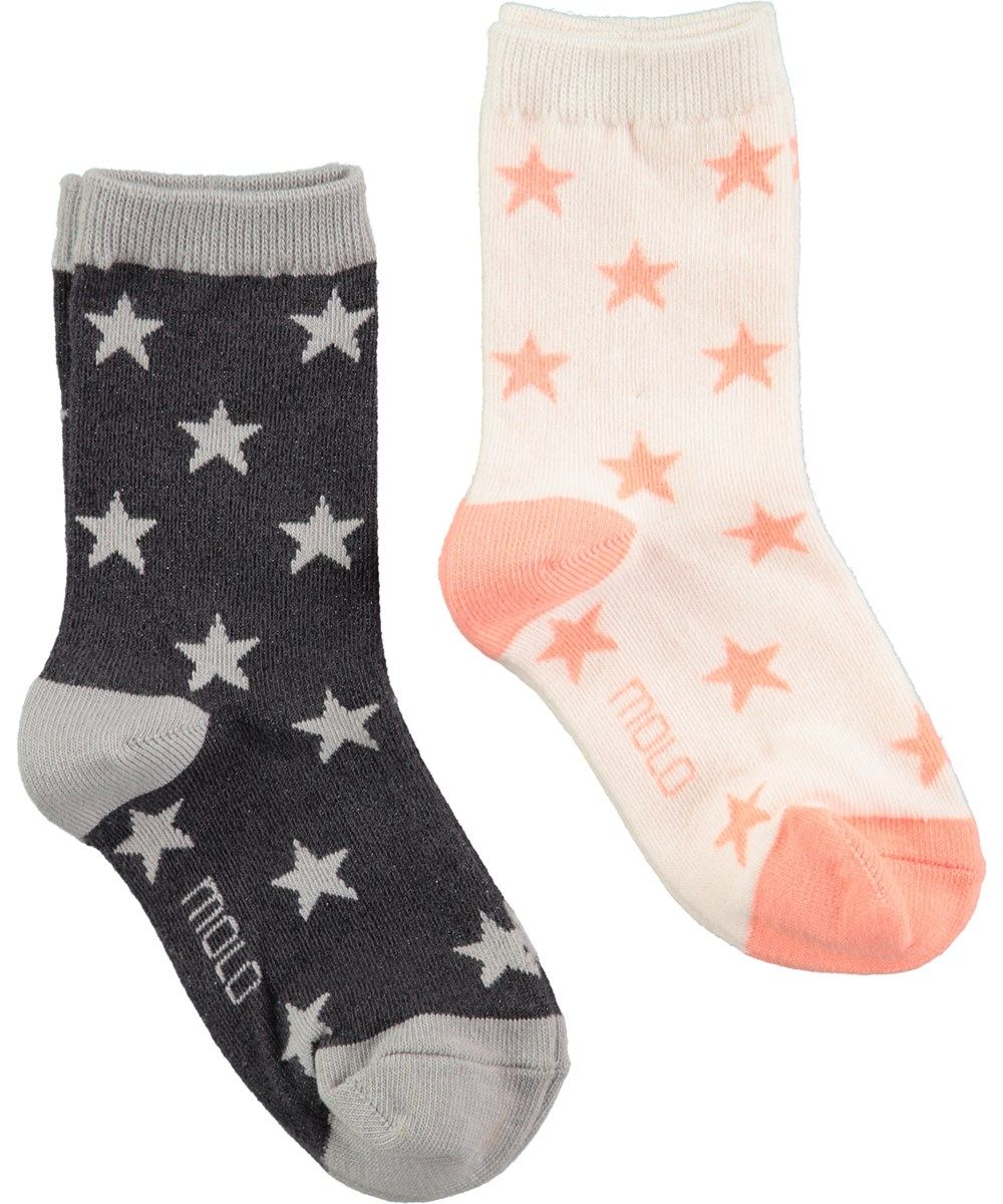 Nesi - Rosewater - soft socks in black and peach with stars