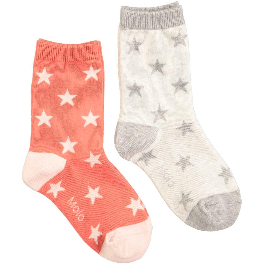 Nesi - Light Grey Melange - Two pairs of socks in orange-red and light grey with stars