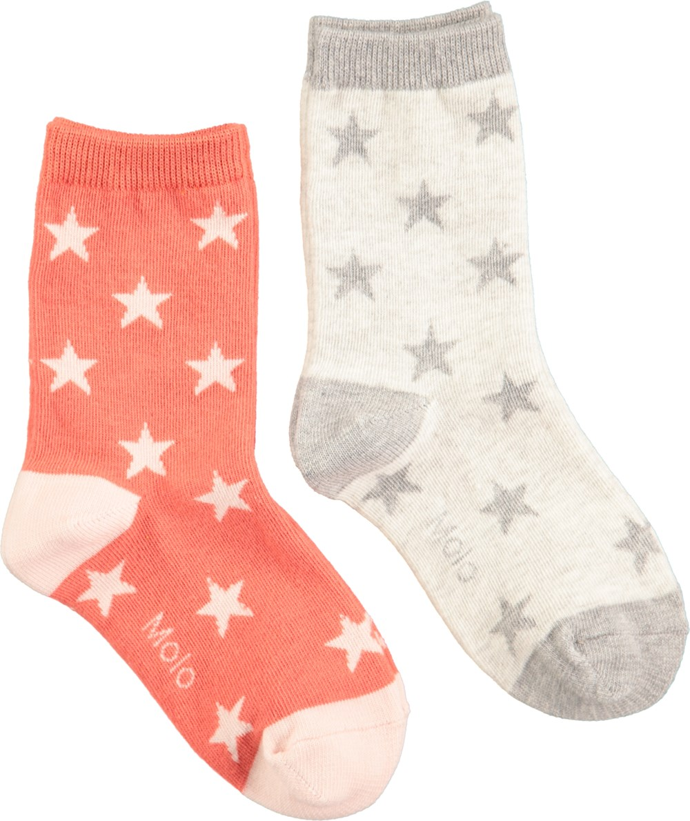 Nesi - Light Grey Melange - Two pairs of socks in orange-red and light grey with stars