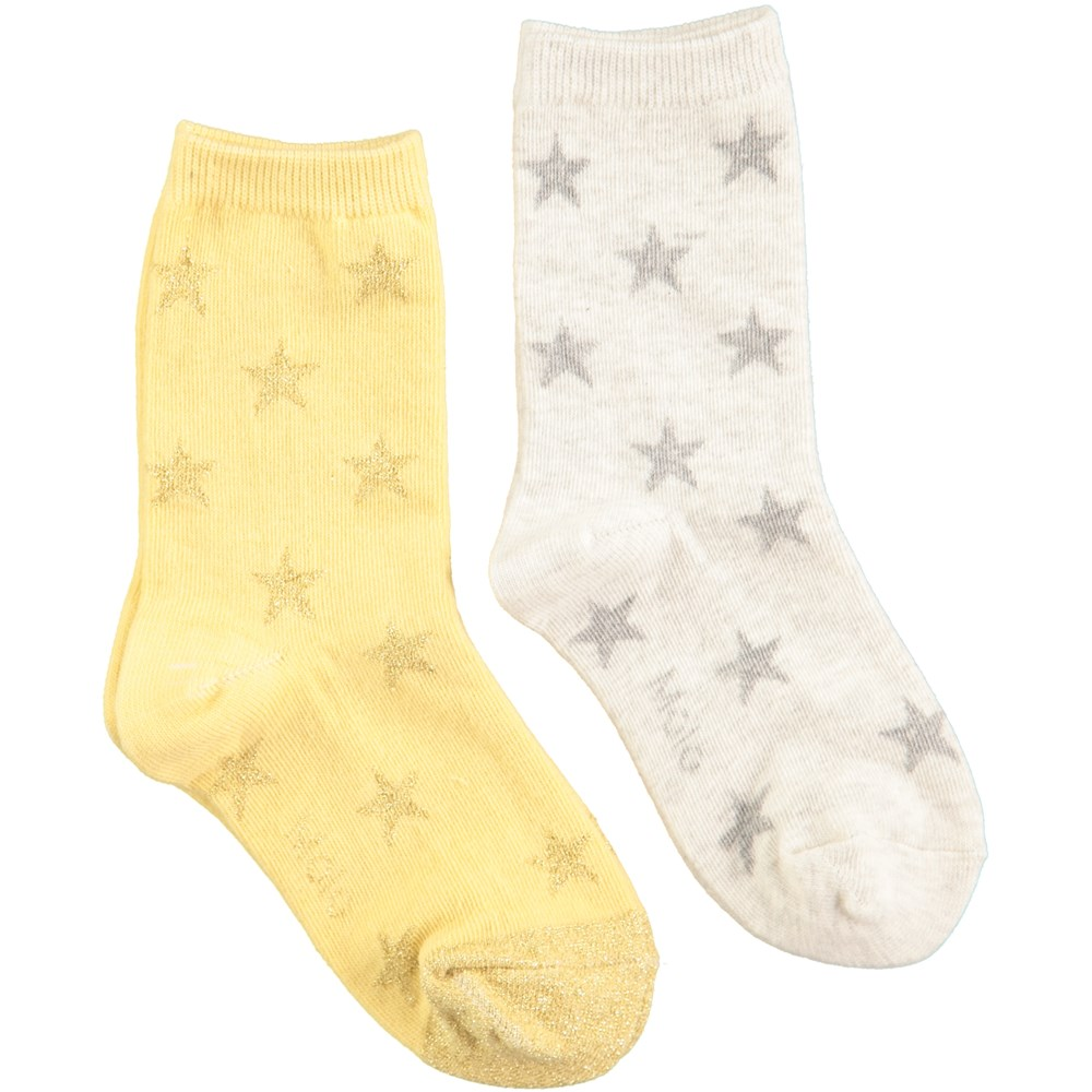 Nesi - Snow Melange - Two pairs of socks in yellow and white melange with stars