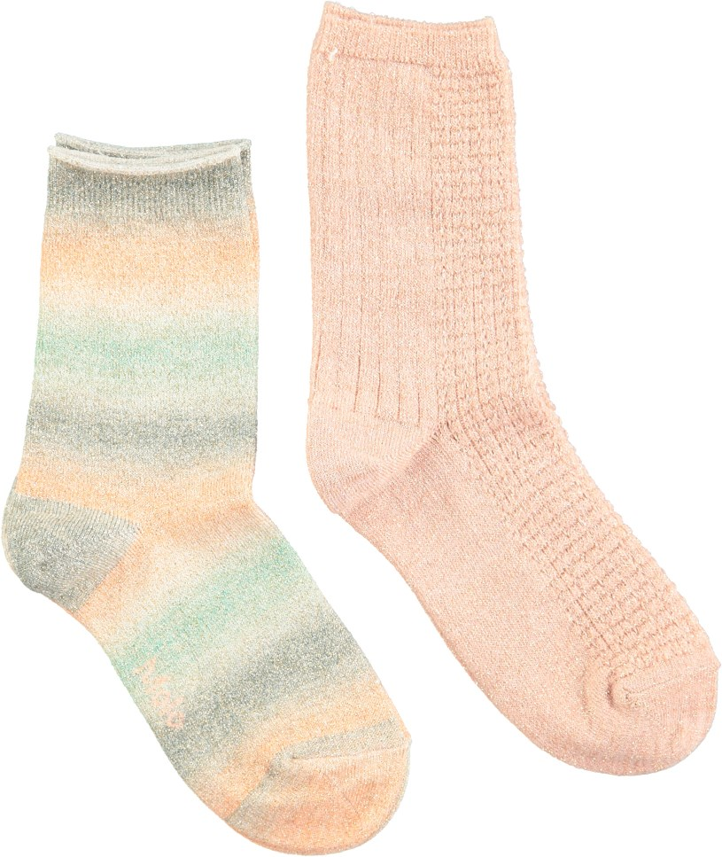 Nia - Peach Puff - Two pairs of socks with glitter