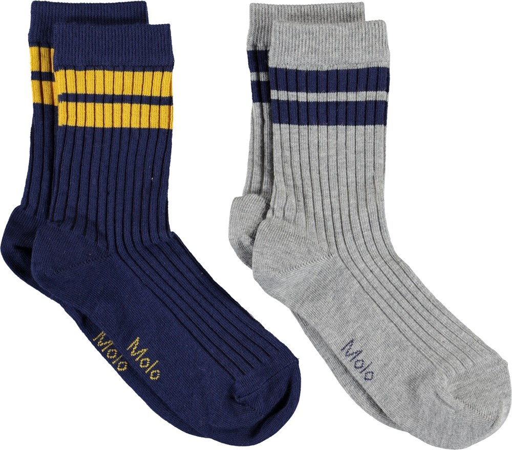 Nickey - Sailor - Grey and blue socks with stripes