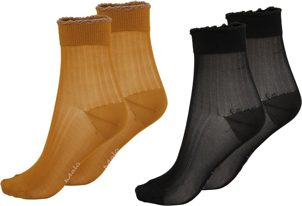 Nicole - Honey - Two pairs of short socks in brown and honey coloured