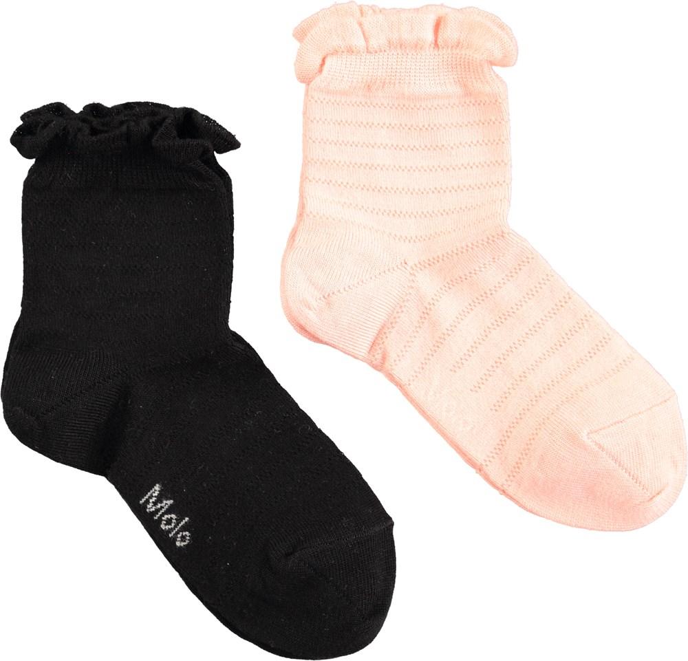 Nita - Black - Two pairs of socks in black and pink