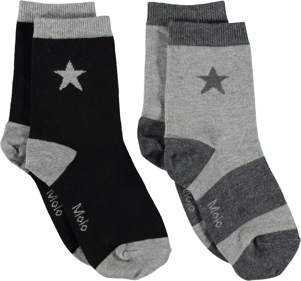 Nitis - Grey Melange - Socks with stars.