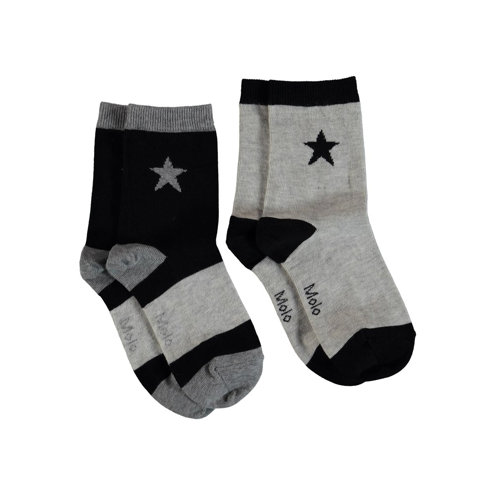 Nitis - Light Grey Melange - Socks with stars.