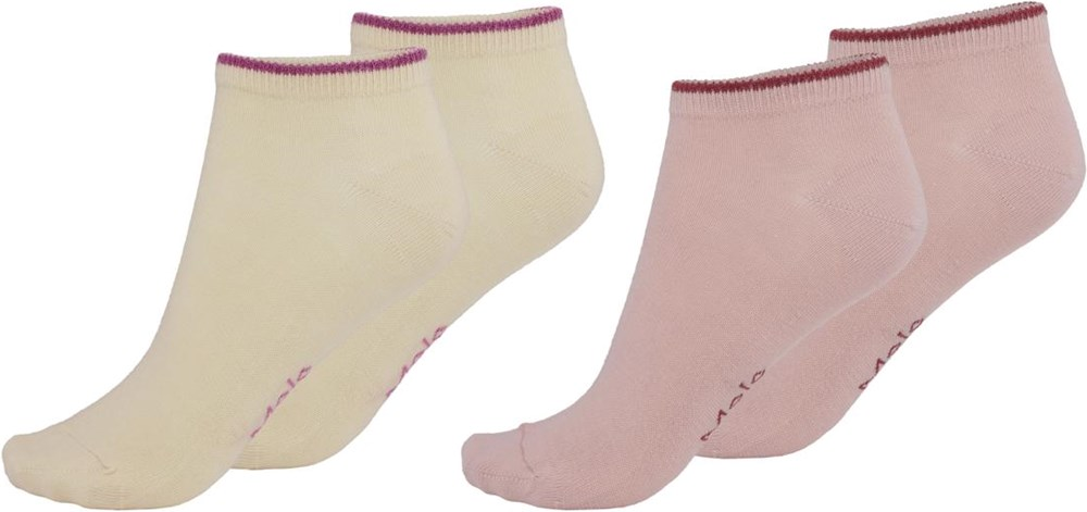 Noja - Banana Crepe - Two pairs of ankle socks yellow and rose