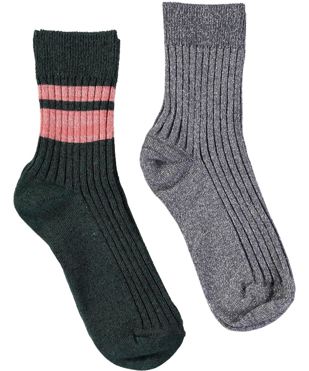 Nomi - Dove Grey - Two pairs of socks in dark green and silver glitter with stars