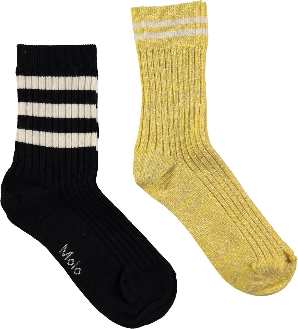 Nomi - Gold - Two pairs of socks in black and gold glitter