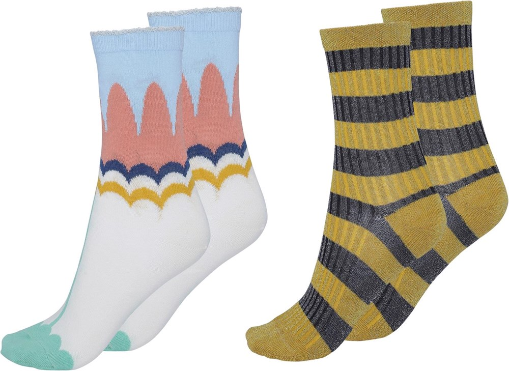 Nomi - Flora - Two pairs socks with yellow and black stripesi