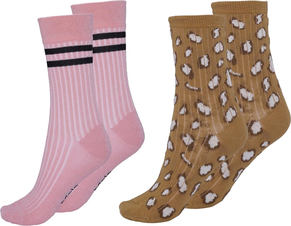 Nomi - Graphic Deer - Two pairs socks in rose with black stripes brown