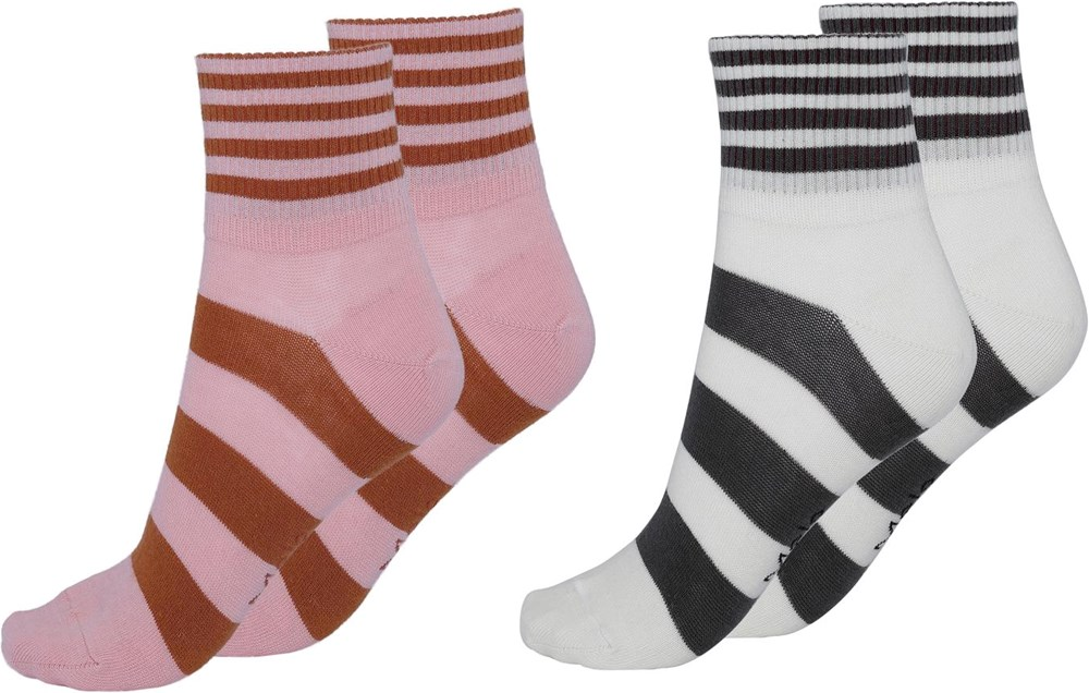 Norah - Burnt Coral - Two pairs socks with stripes