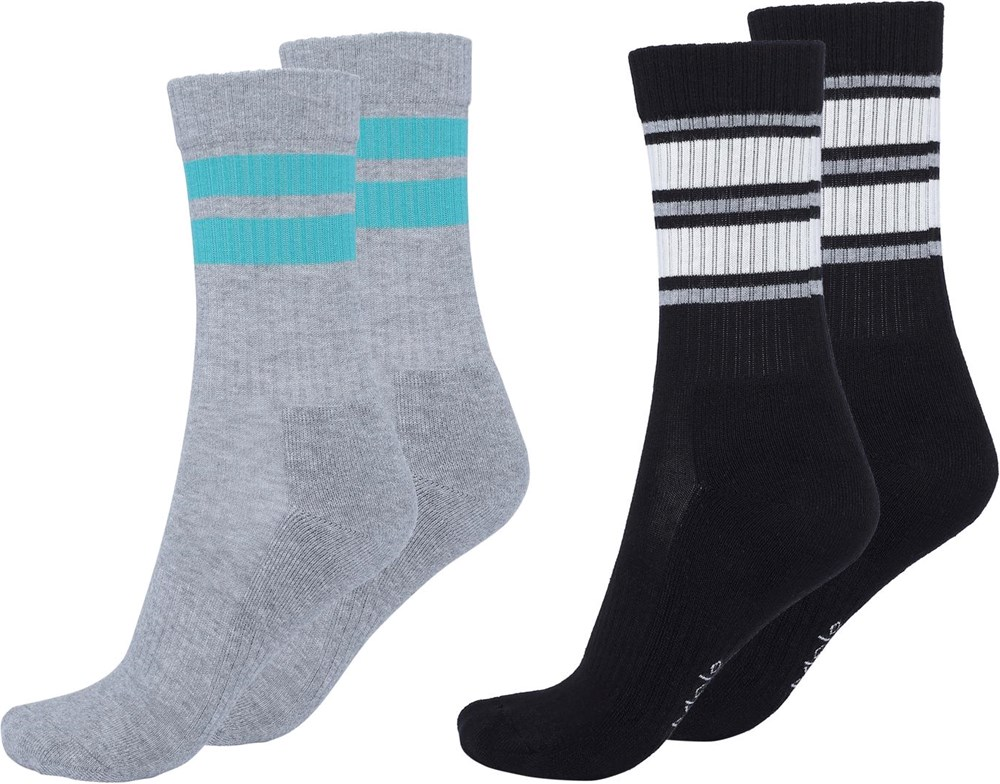 Norman - Black - Two pairs of socks with stripes