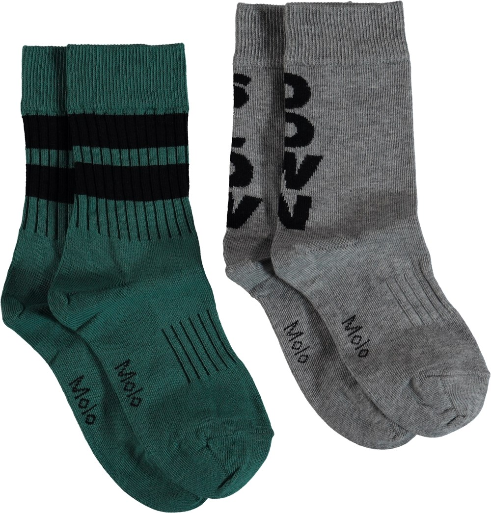 Norman - Grey Melange - Socks with stripes and rib.