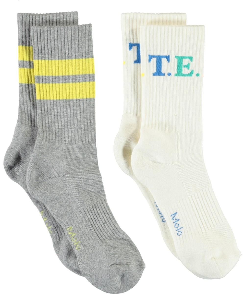 Norman - Light Grey Melange - White team and grey socks