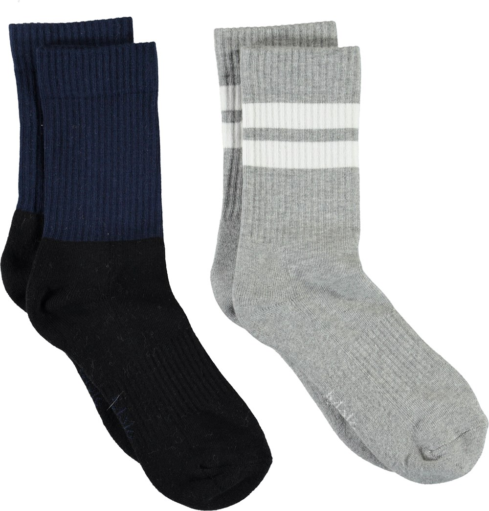Norman - Sailor - Blue and grey socks with stripes