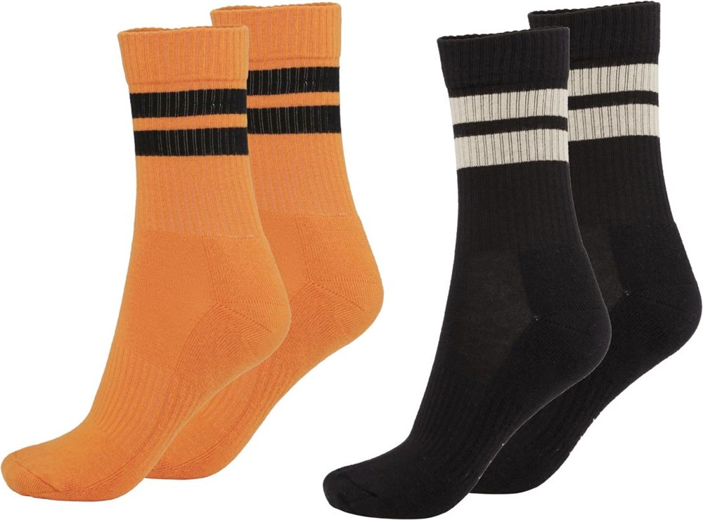 Norman - Sand - Two pairs of socks orange with stripes