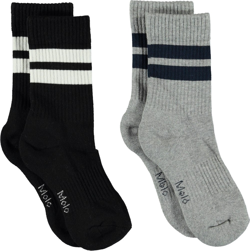 Norman - Grey Melange - Socks with stripes.