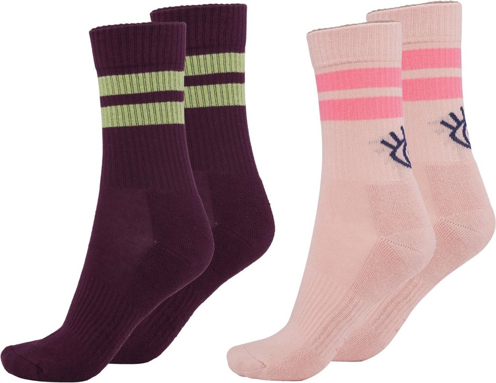 Numa - Petal Blush - Two pairs of socks with eye and stripes