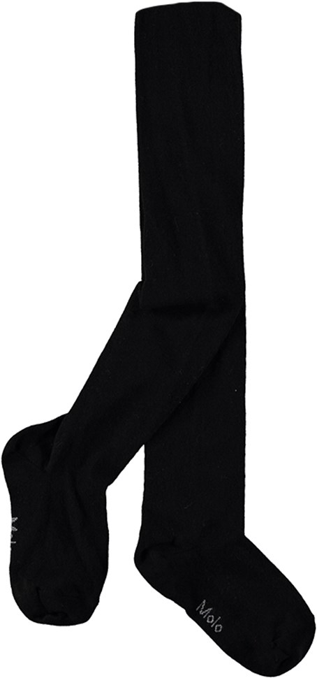 Solid Tights - Black - Black tights with elastic waist