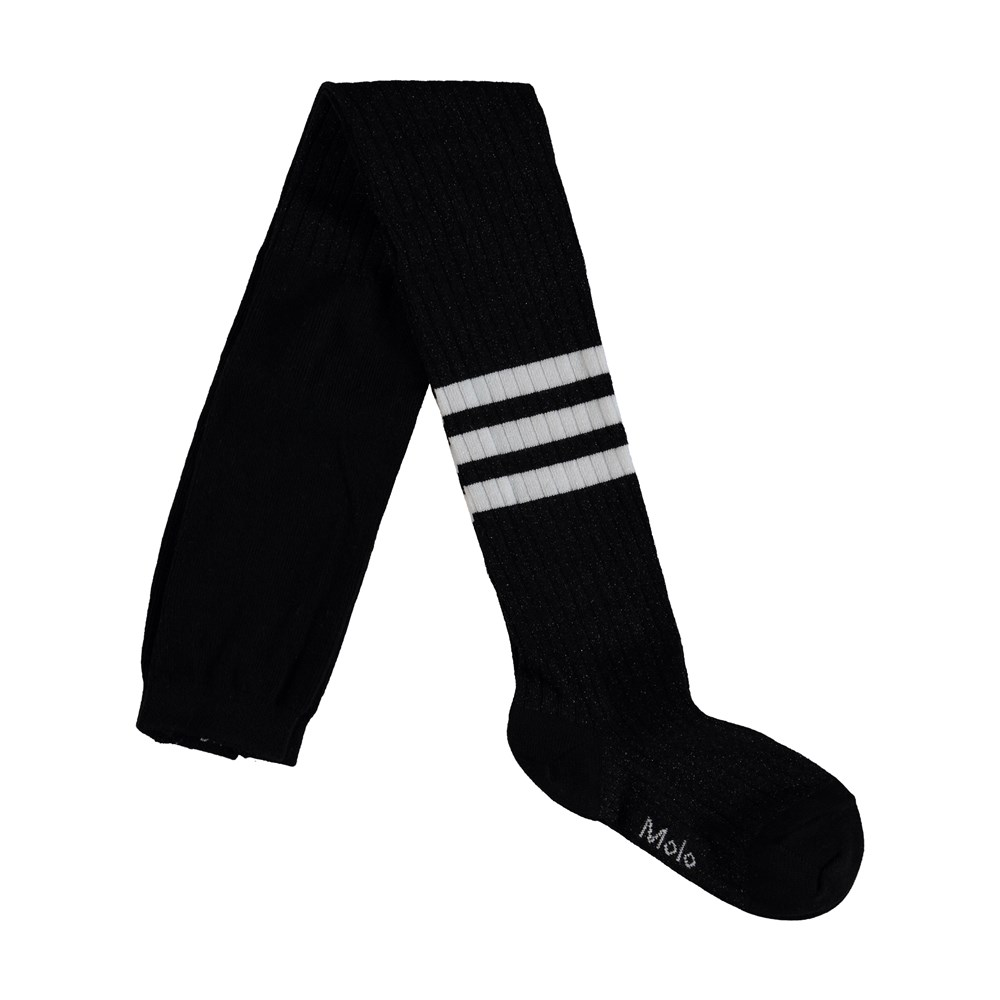 Sporty Rib Tights - Black - Sporty tights with stripes.