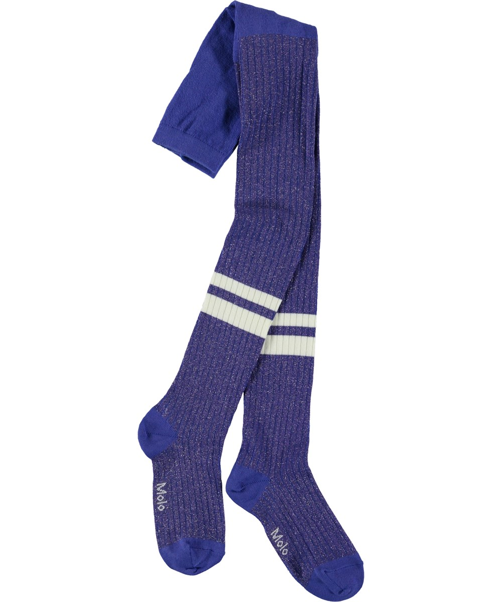 Sporty Rib Tights - Clematis - Blue glitter tights with stripes