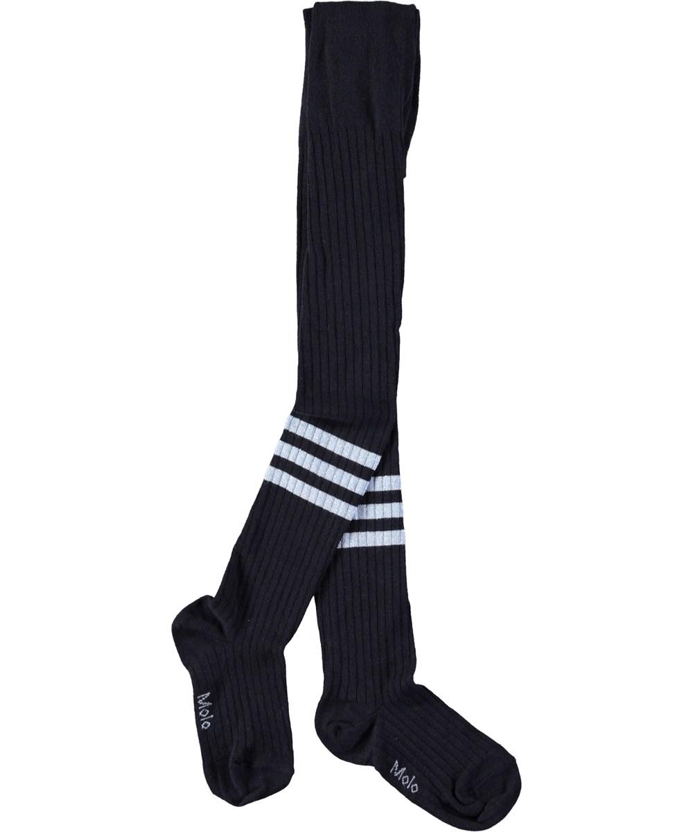 Sporty Rib Tights - Dark Navy - Sporty, dark blue rib tights