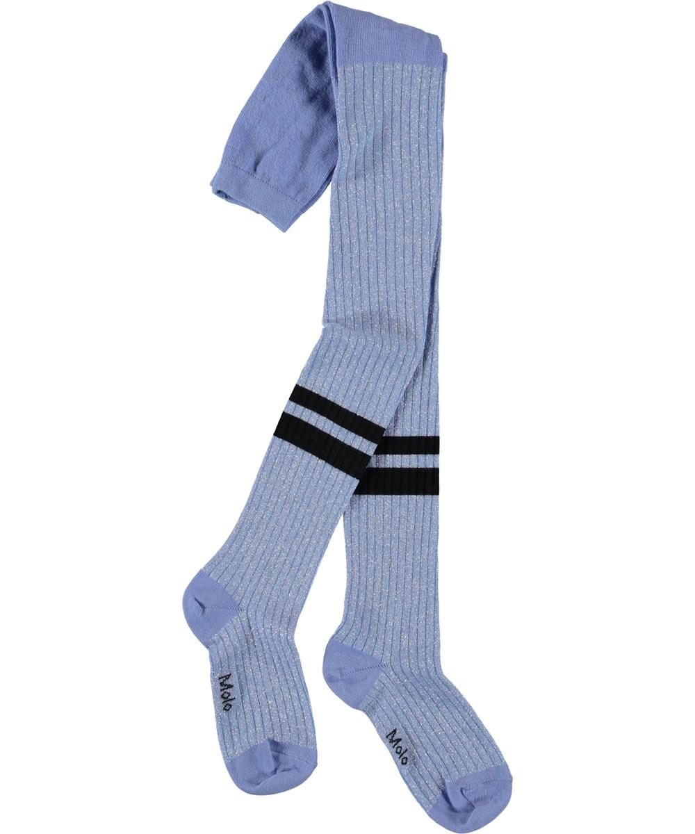 Sporty Rib Tights - Pale Iris - Purple glitter tights with stripes