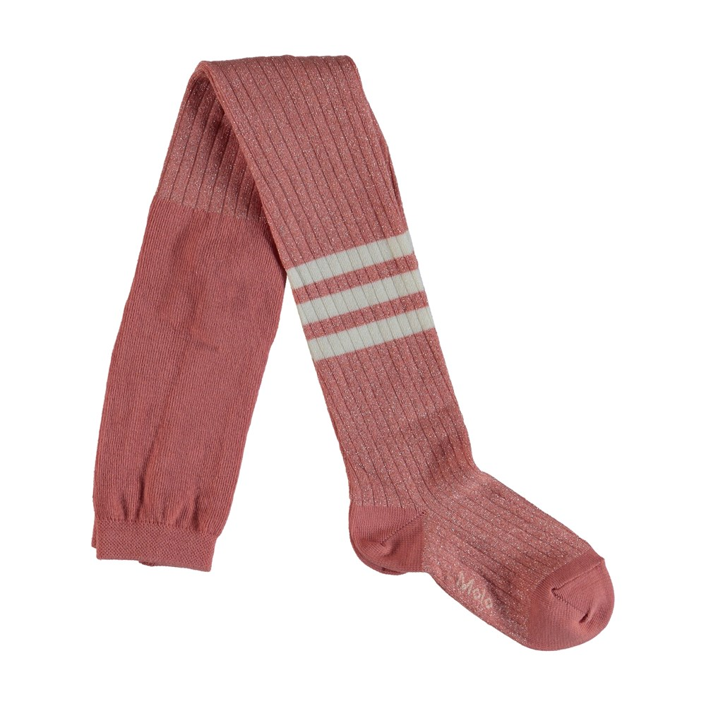 Sporty Rib Tights - Rare Orchid - Rose coloured sporty tights with stripes .