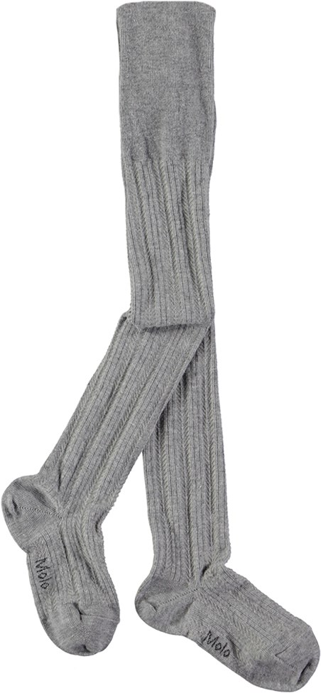 Structured Tights - Grey Melange - Grey tights with lovely pattern