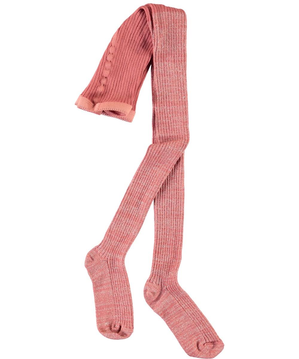 Glitter Rib Tights - Desert Sand - Rosa rib glimmer strømpebukser