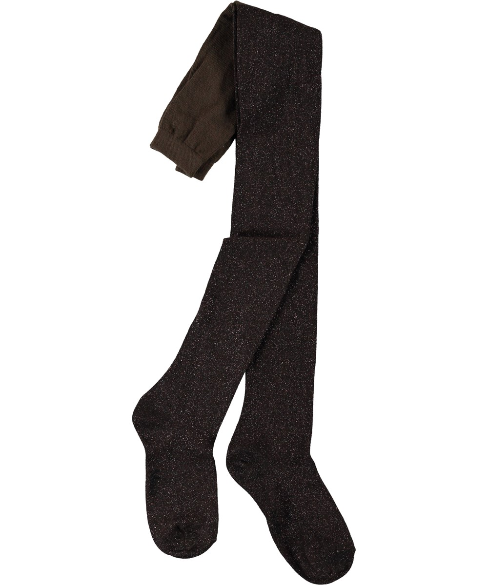 Glitter tights - Chocolate Truffle - Mørke brune glimmer strømpebukser