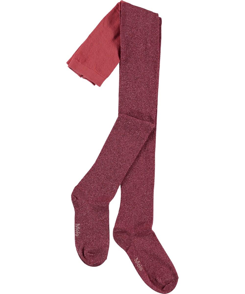Glitter tights - Faded Rose - Røde glimmer strømpebukser