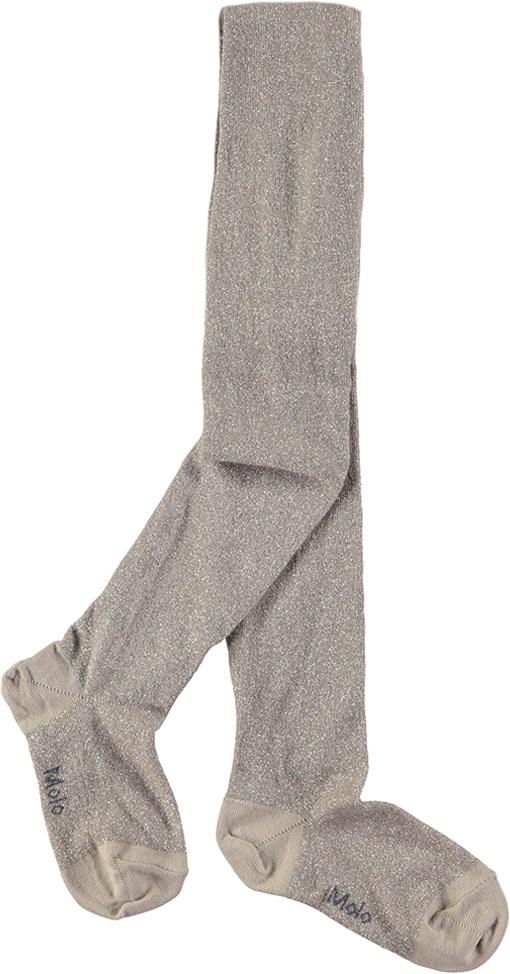 Glitter tights - Pure Cashmere - Sandfarvede strømpebukser med glimmer