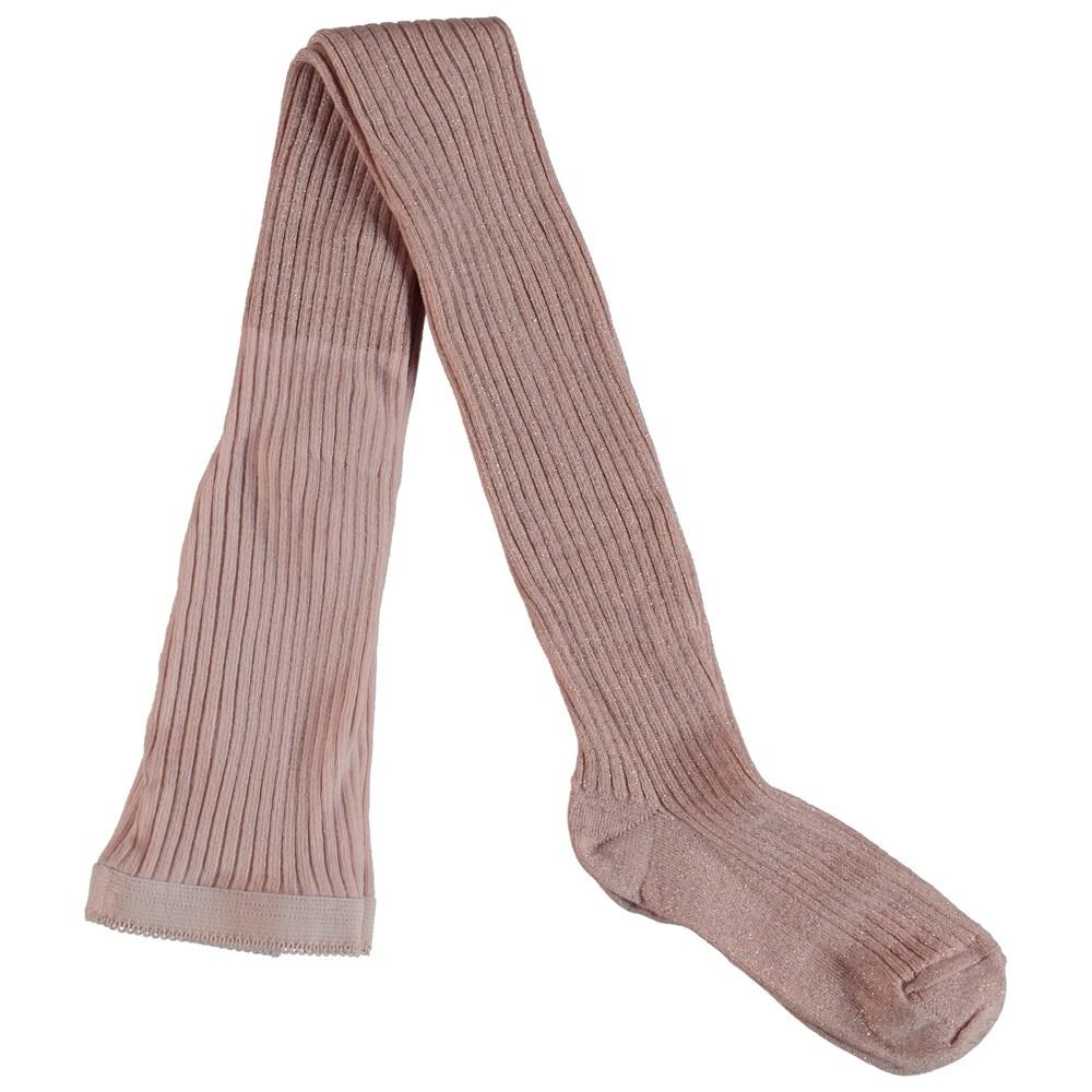 Lurex rib tights - Cameo Rose -
