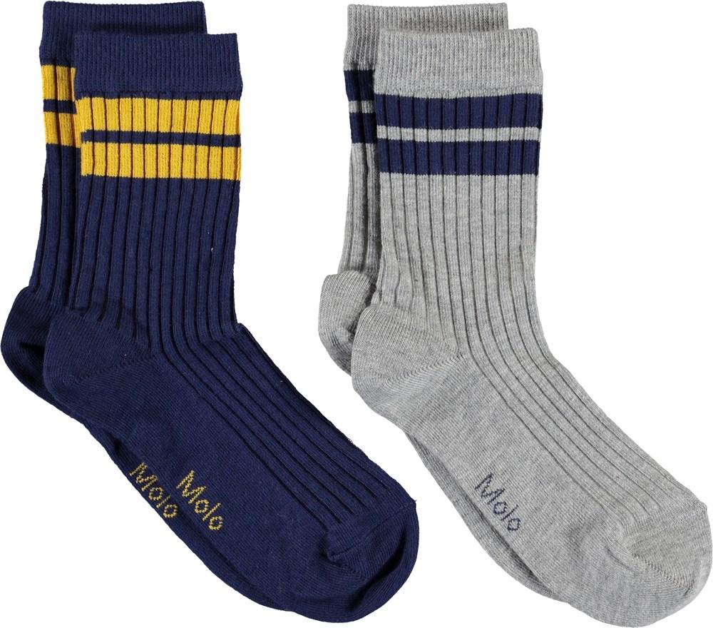 Nickey - Sailor - Grå og blå strømper med striber